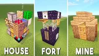 Minecraft: 3 Small Pocket Buildings Only One Command