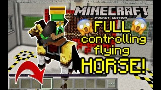 Minecraft Pocket Edition: Full Rideable Flying Horse Only One Command